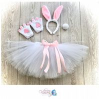 Easter bunny rabbit tutu costume tulle skirt ears tail paws set girls dress up cake smash photos